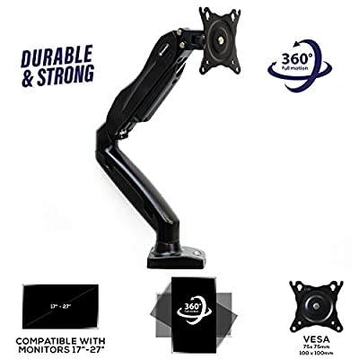 Mountio Full Motion LCD Monitor Arm - Gas Spring Desk Mount Stand for Screens up to 27""