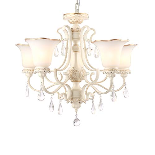 TQUANG Crystal Chandelier Rustic Style Wrought Iron Foyer Restaurant Antique Ceiling Lamp Retro Decorative Lighting E27 (Size : 5 Light) ()