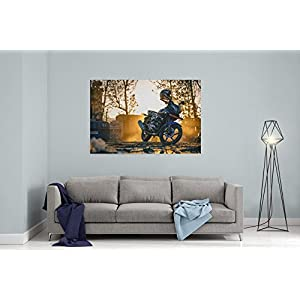 Westlake Art Canvas Print Wall Art - Motorcycle Helmets on Canvas Stretched Gallery Wrap - Modern Picture Photography Artwork - Ready to Hang - 18x12in (a119z)