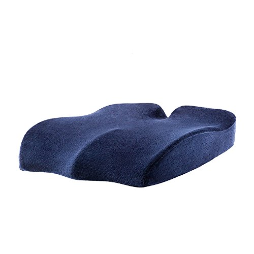 Ergonomic Office Chair Coccyx Seat Cushion - Oversized & Heavy Duty Memory Foam Orthopedic Seat Pad with Removable Cover for Tailbone Pain Relief, Car Seat, Wheelchair, Bule