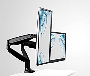 Mount-It! Monitor Desk Mount, Computer Monitor Stand, Height Adjustable Arm Fits Up To 32 Inch Screens, VESA 75x75 and 100x100, 20 Lb Capacity, Black (MI-1771) by Mount-It!