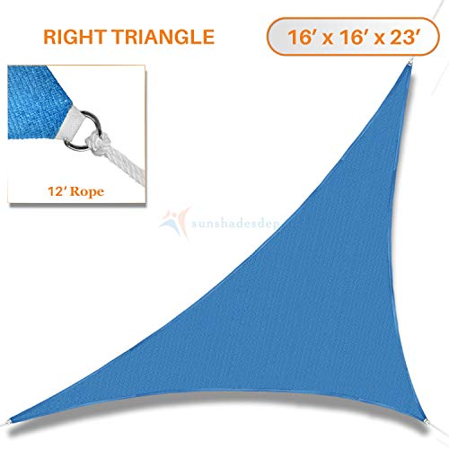 (TANG Sunshades Depot 16' x 16' x 23' Sun Shade Sail Right Triangle Permeable Canopy Ice Blue Custom Commercial Standard)
