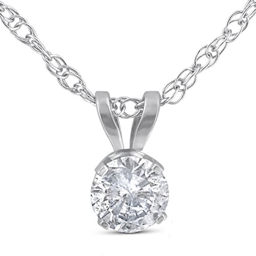 1/3CT Round Solitaire White Gold Diamond Pendant ()