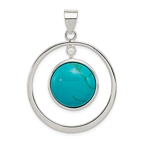 925 Sterling Silver Circle Blue Turquoise Pendant Charm Necklace Natural Stone Fine Jewelry For Women Gift ()