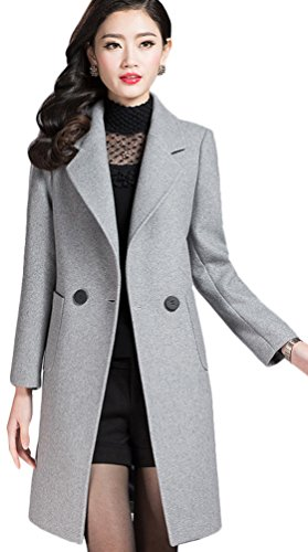 Youhan Women's Fit Cashmere Overcoat Wool Trench Coat (Large, Light Gray)