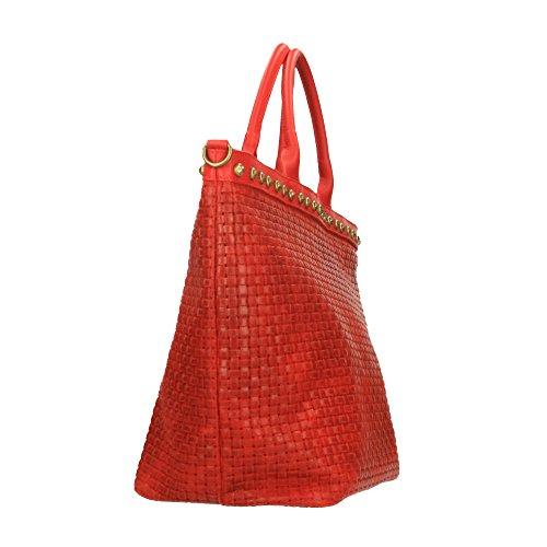Italy à avec 53x34x20 tressé en cuir in en Chicca imprimé Made véritable Borse Sac Rouge Cm bandoulière main cuir OdSg4gw