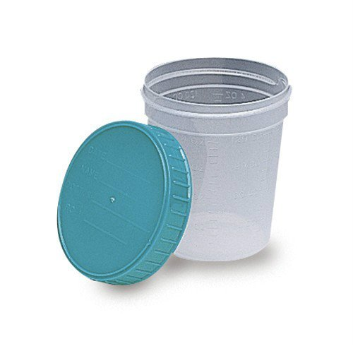 Medical Action Non-Sterile Gent-L-kare 4 Ounce Specimen Collection Cups with Turquoise Lid - Pt#4653 (500 Cups/Case)