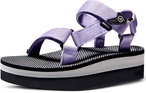ATIKA Women's Islander Trail Outdoor Water Shoes Strap Sport Sandals, Raised Islander(w215) - Lavender, 10