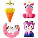 NIUBANG 4PCS Jumbo Slow Rising Squeeze Set Kawaii Cute Deer Ice Cream Moon Unicorn Squishy Kids Toys Doll Stress Relief Toy Hop Props Decorative Props Large