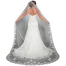 WAJY Lace Edge Cathedral Length Long Bridal Wedding Bridal Veil+Comb