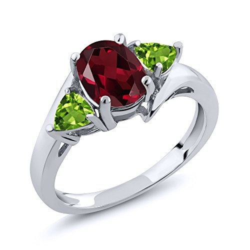 Sterling Silver Oval Rhodolite Garnet & Green Peridot Women's 3-Stone Ring (1.92 cttw, Available in size 5, 6, 7, 8, 9)
