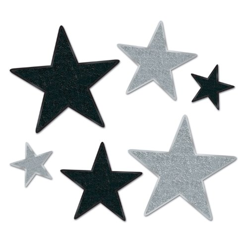 Night Cut Outs Awards (Beistle 57857-BKS Party Supplies, Asstd, Black/Silver)