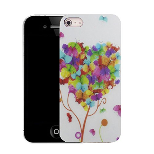 Mobile Case Mate IPhone 5 clip on Silicone Coque couverture case cover Pare-chocs + STYLET - tree butterfly pattern (SILICON)