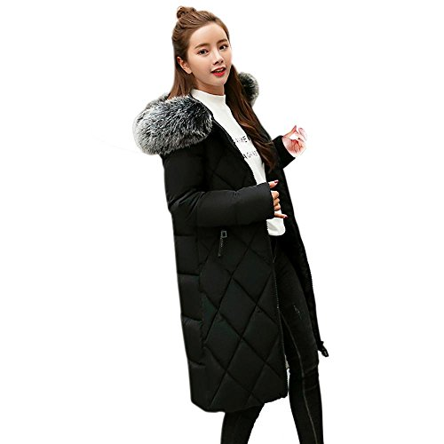 Women Parka Liraly Women Solid Thicker Winter Slim Warm Lammy Jacket Hair Collar Coat Overcoat (2XL, Black)