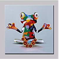 ZXJYH Pura Dipinte A Mano E Abstract Cartoon Carino Animale Modello Rana Pittura Ad Olio Salotto Divano A Parete Pittura Cornice Casa Decorazione Murale