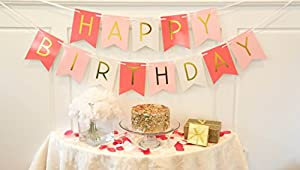 Tri-Color Pink & White Happy Birthday Bunting Banner - Birthday Party Decorations