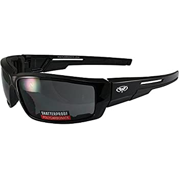 30f3699f0e Smoke Foam Padded Motorcycle Sunglasses Shatterproof Polycarbonate Lenses