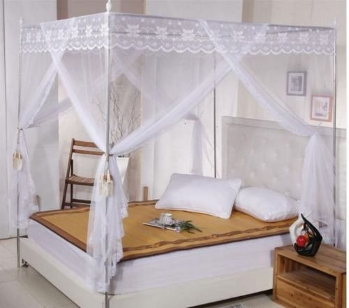 WALLER PAA White Lace 4 Corners Post Bed Canopy Mosquito Net For Twin Queen Cal King Size (Twin Extra - Uk Uv Dresses