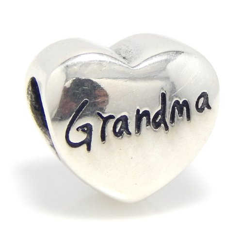 "Pro Jewelry .925 Sterling Silver ""Grandma Heart"" Charm Bead for Snake Chain Charm Bracelet EBD JB 5855 OX"