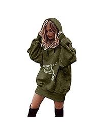 IEason Women Pullover Sweater Women Fashion Cat Print Clothes Hoodies Pullover Coat Hoody Sweatshirt