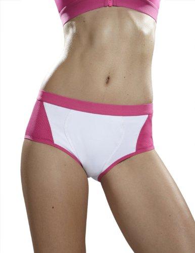 Yvette Women Mid-Rise Sports Control Panties #6004, White/Rose, 3XL