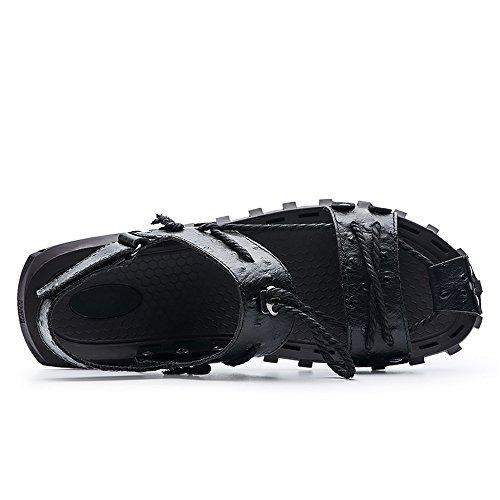 Piedi Cintura Adujstable Pantofole in da Vera Pelle Uomo Uomo da a Yao Spiaggia Nero Sandali Antisdrucciolevole di Morbido per Casuale Scarpe Piatto Corda Canapa Sandali Escursionismo TfwqXYt