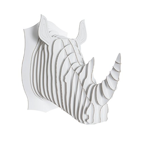 Cardboard Safari Recycled Cardboard Animal Taxidermy Rhino Trophy Head, Robbie White Medium
