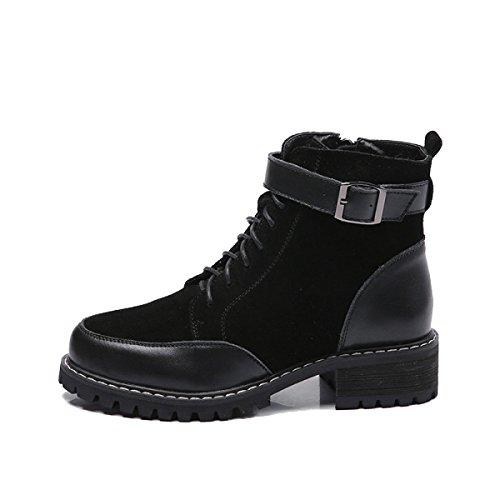 WJNKK Freizeit Größe Neue Schwarz Flache Modische Damen Stiefeletten Große up Schuhe 42 35 Retro Frauen Lace AAxqfwrv