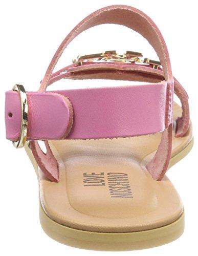 Love Moschino San.LOD./10 Vacchetta Rosa, Sandalias de Talón Abierto Para Mujer Rosa (Pink)