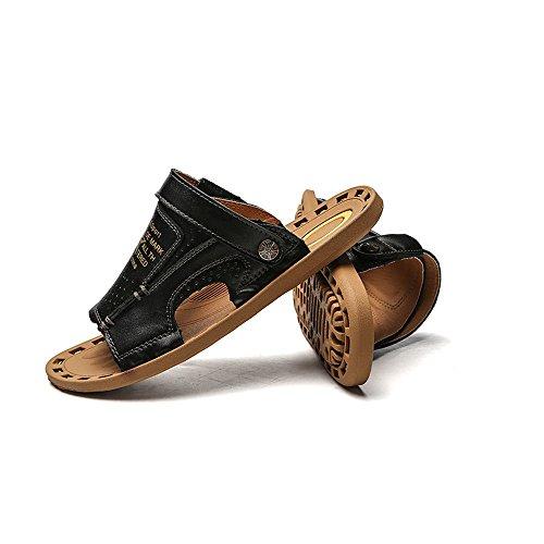 Zapatillas Playa Ocasionales Libre Genuino Desgaste del al de Sandalias de Verano al Antideslizantes de y Interior Sandalias convenientes Black Aire los de Hombres Uso Usar Doble Cuero para Resistentes qZwwxOEpa