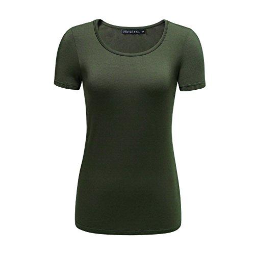 OThread & Co. Women's Short Sleeve T-Shirt Scoop Neck Basic Layer Spandex Shirts (Medium, Dark Olive) Design Womens Fitted T-shirt