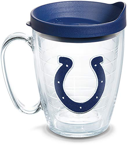 Tervis 1062479 NFL Indianapolis Colts Primary Logo Tumbler with Emblem and Navy Lid 16oz Mug, Clear ()