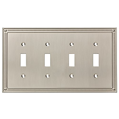 Quad Switch Wall Plate - Franklin Brass W35068-SN-C Classic Beaded Quad Switch Wall Plate/Switch Plate/Cover, Satin Nickel