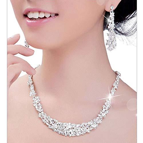 - Sinfu Women's Necklace Earrings Set Bridal Shiny Pleated Rhinestone Necklace Earring Set