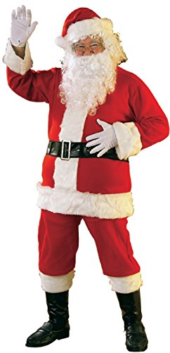 Rubie's Bright Red Flannel Santa Suit With Gloves,