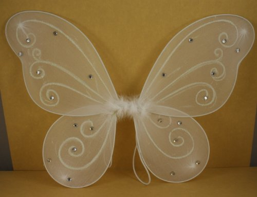 White Butterfly Fairy Costume Wings 17
