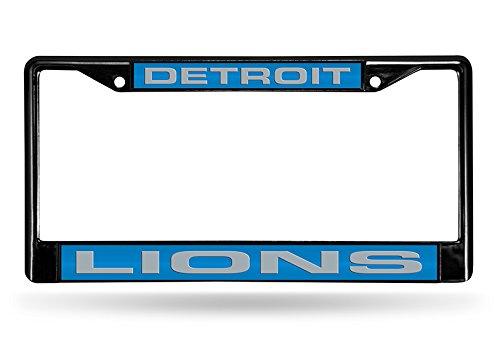 NFL Detroit Lions Laser Cut Inlaid Standard Chrome License Plate Frame, Black