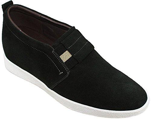 CALDEN Men Suede 2.4 Inches Casual Shoes Black