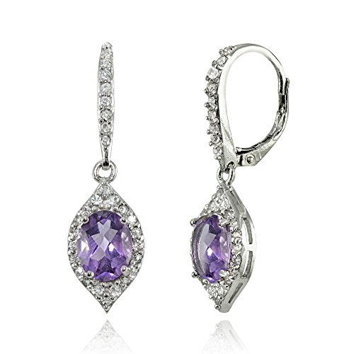 LOVVE Sterling Silver Gemstone White Topaz Oval Dangle Earrings, Choice of Colors