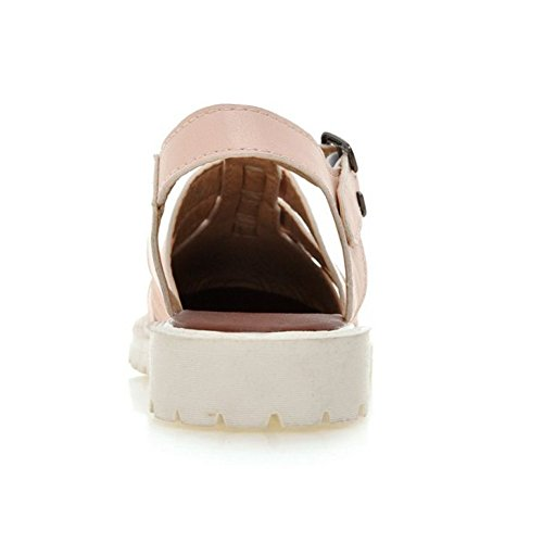 Toe Sandals Flats Classic Closed LongFengMa Pink Gladiator Women's ISxqx7Y