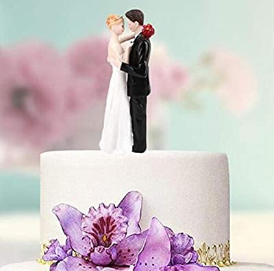AngleLife Funny Bride and Groom Decorative Wedding Cake Toppers - Cake Topper Figurines, Keepsake Wedding Cake Decorations in Unique Pose