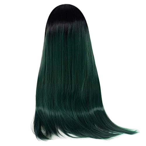 Molyveva Fashion Ombre Lace Front Wigs Multicolor Light/Dark Roots Long/Short Natural Straight Heat Resistant Synthetic Hair Replacement Wig for Women