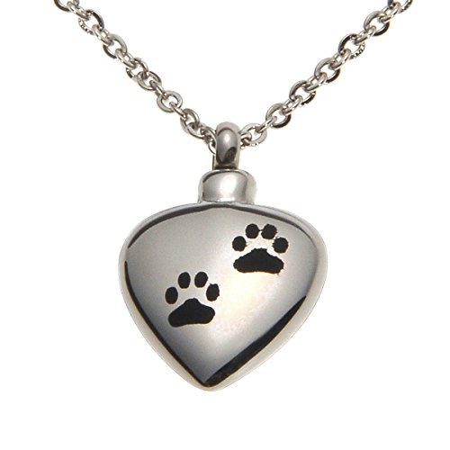 HOUSWEETY Stainless Steel Pet Paw Urn Pendant Memorial Necklace Ash Cremation Jewelry (Non-Engraving)