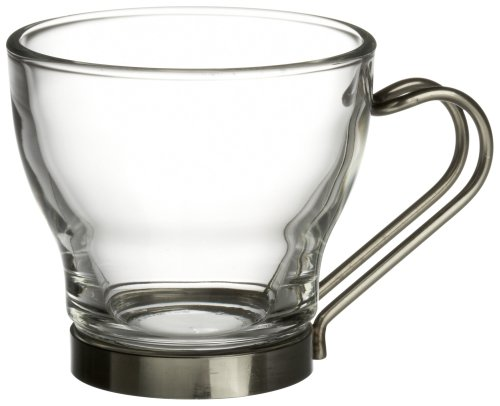 (Bormioli Rocco Verdi  Espresso Cup With Stainless Steel Handle, Set of 4, Gift Boxed)