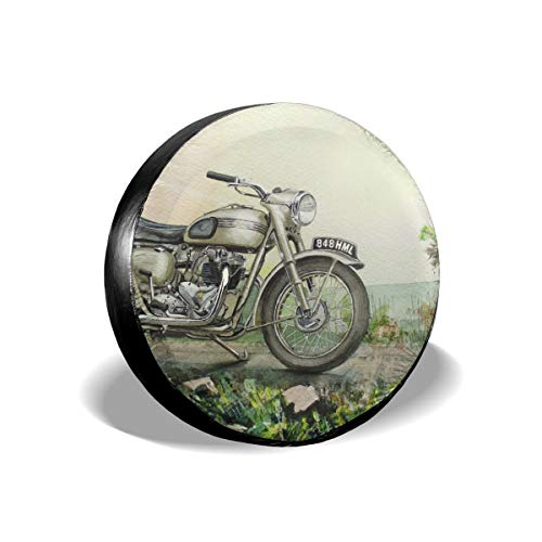 Hanging Decorations Drawn Motorcycle Bullet Bike Waterproof Dust-Proof Seasonal Tire Tote & Wheel Felts Spare Tire Cover Fit for Jeep,Trailer, RV, SUV and Many Vehicle 14