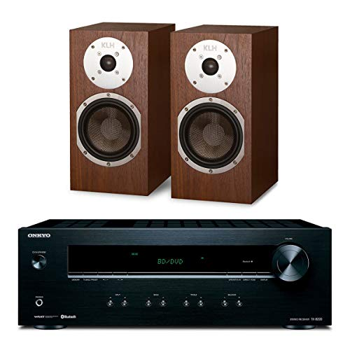 Onkyo TX-8220 Stereo Receiver with Built-in Bluetooth and KLH Albany Bookshelf Speakers - Pair (Walnut)