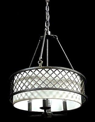 New Legend Lighting Antique Bronze Finish 4-light Round Shade Chandelier Hanging Pendant Ceiling Lamp Fixture