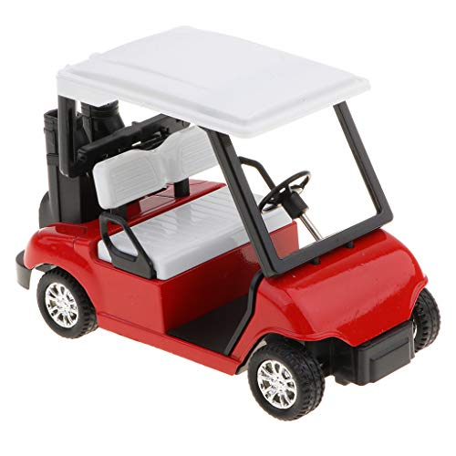 - Die-cast Metal Golf Cart Model Toy 1:20 Scale Pull Back Vehicles Toy (White, Red, Blue) - Red