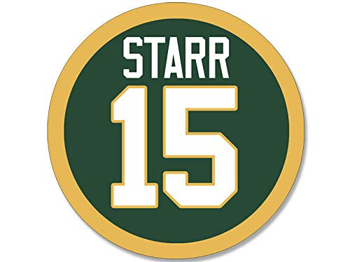 MAGNET 4x4 inch Round STARR #15 Sticker - decal green bay number packers football bart Magnetic vinyl bumper sticker sticks to any metal fridge, car, signs