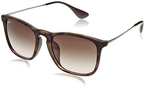 Ray-Ban RB4187F Chris Square Asian Fit Sunglasses, Light Tortoise Rubber/Brown Gradient, 54 ()